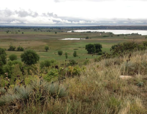 View looking east off the mesa at Boulder Valley Ranch Open Space